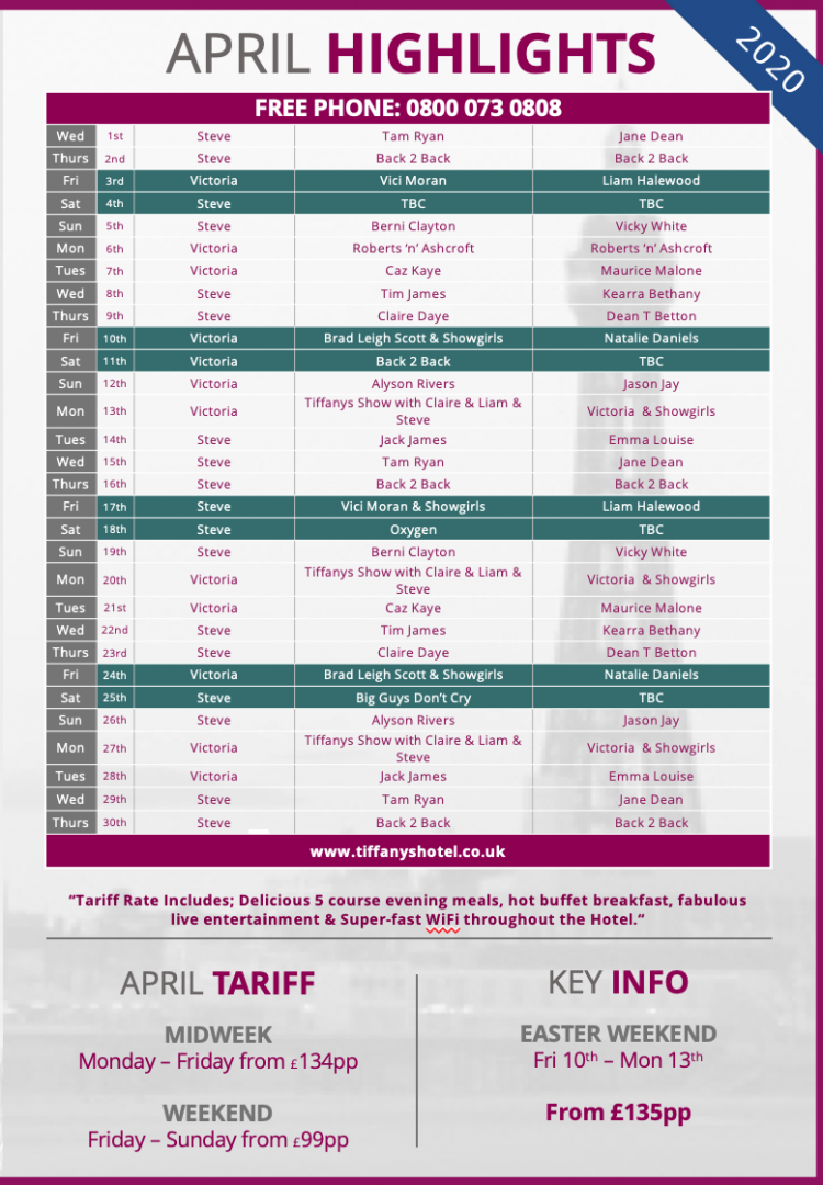 Tiffany's Hotel Entertainment Guide - April 2020