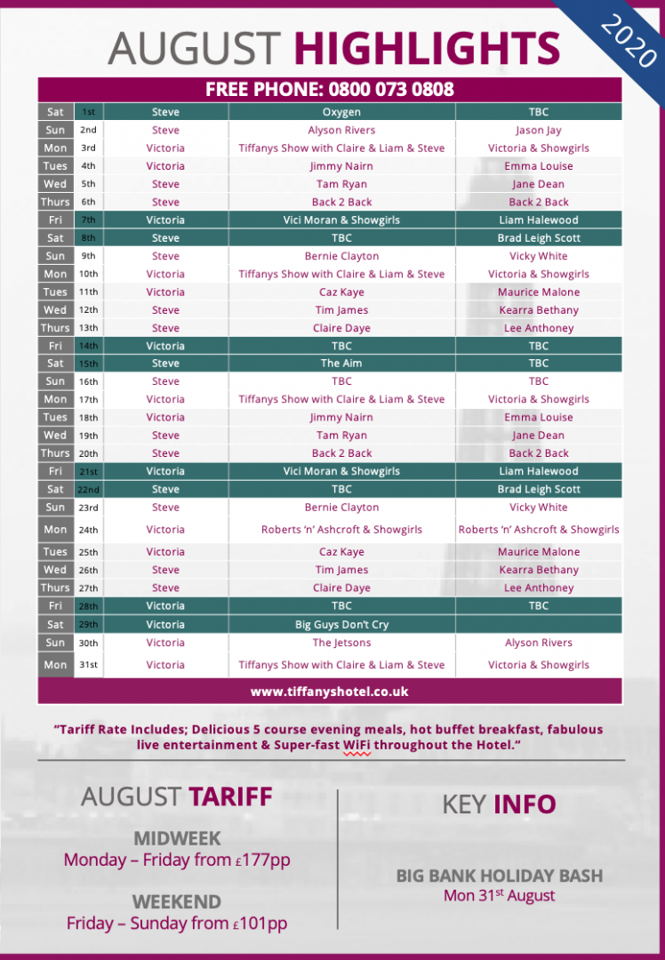 Tiffany's Hotel Entertainment Guide - August 2020