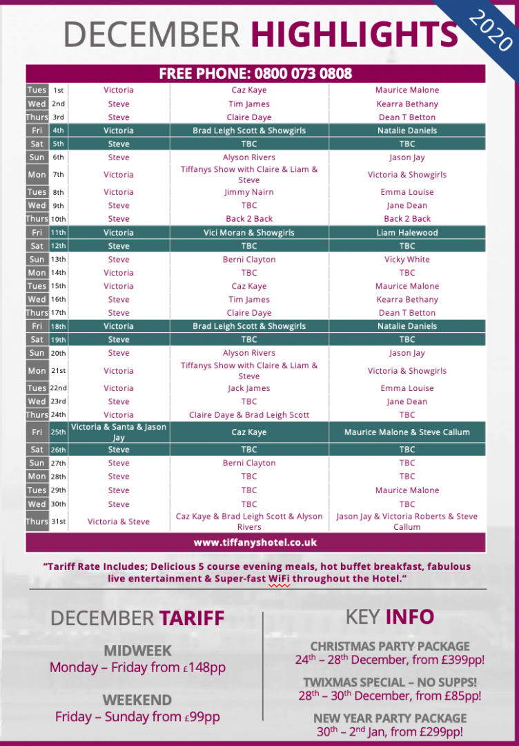 Tiffany's Hotel Entertainment Guide - December 2020