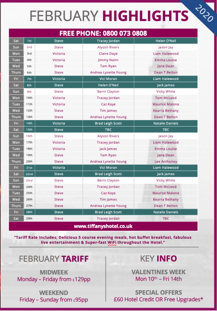 Tiffany's Hotel Entertainment Guide - Feb 2020