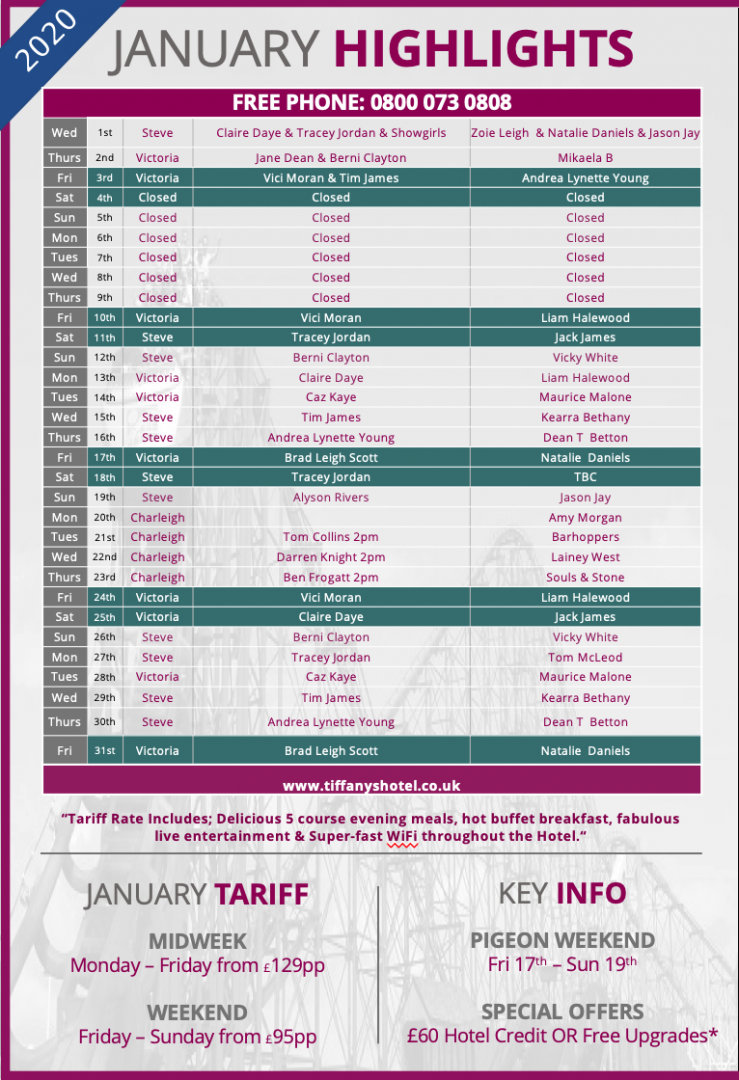Tiffany's Hotel Entertainment Guide - January 2020