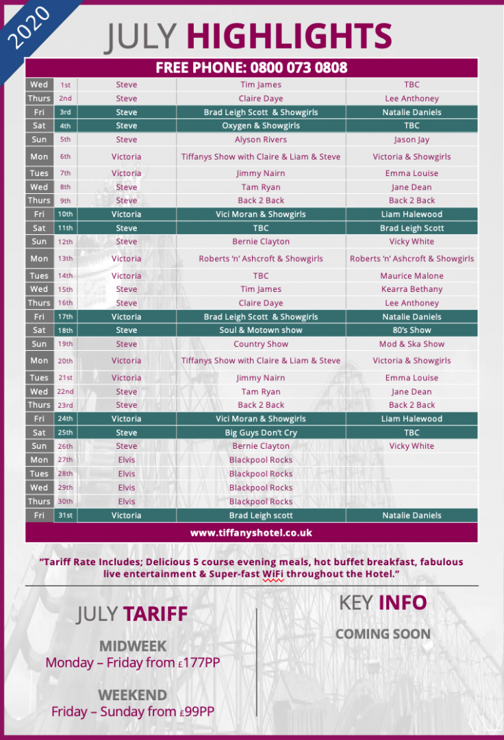 Tiffany's Hotel Entertainment Guide - July 2020
