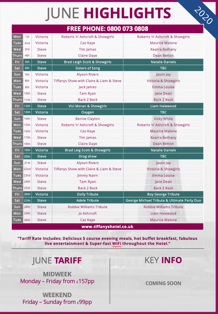 Tiffany's Hotel Entertainment Guide - June 2020