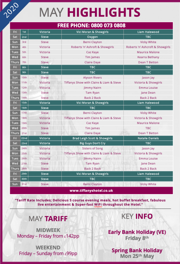 Tiffany's Hotel Entertainment Guide - May 2020