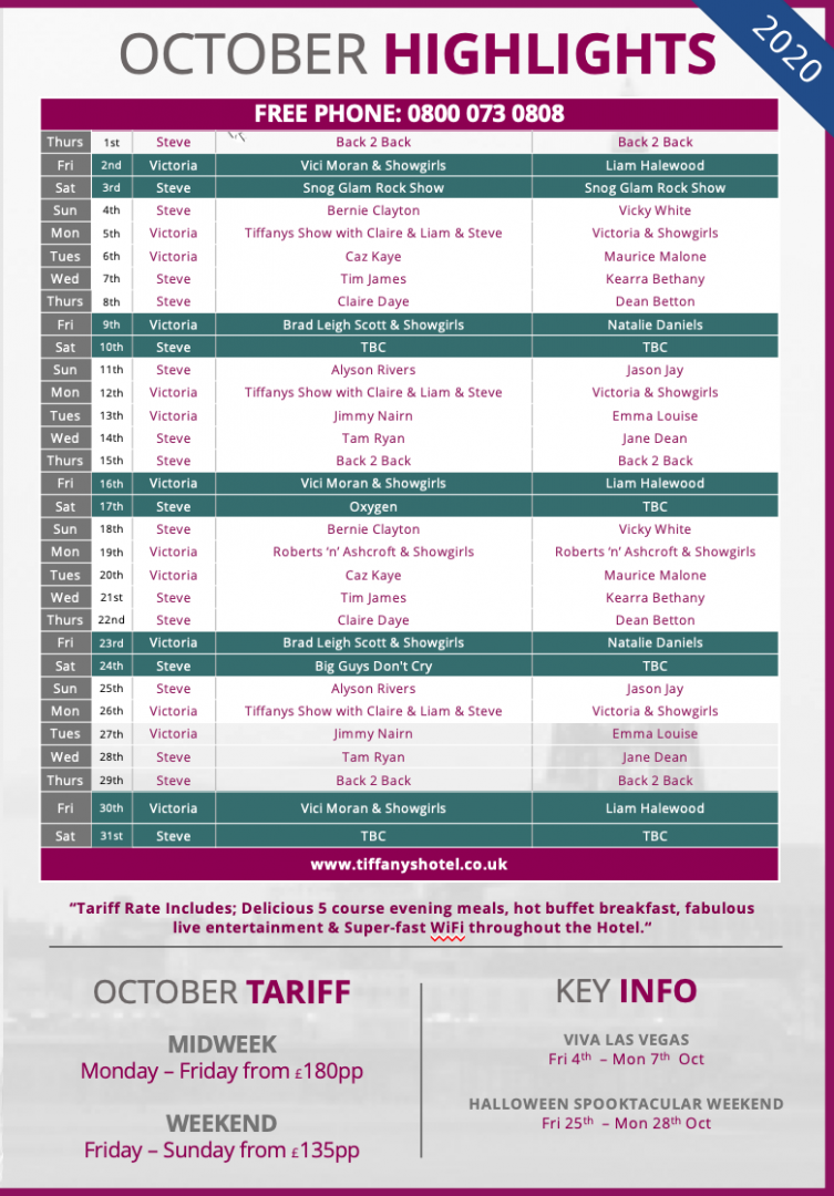 Tiffany's Hotel Entertainment Guide - Oct 2020