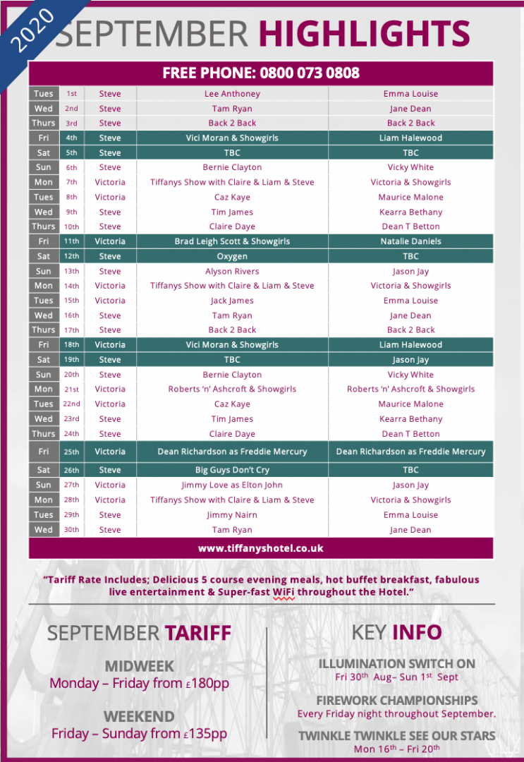 Tiffany's Hotel Entertainment Guide - September 2020
